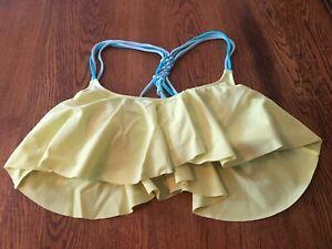 Victoria's Secret PINK Yellow Ruffle Bikini Swimsuit Swim Top S Small
