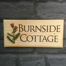 Thistle Cottage Sign, Scottish Thistle House Name Plaque Number Garden Flowers