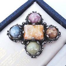 VINTAGE JEWELLERY COLOURFUL GLASS AGATE IRISH MARBLE LOVELY SCOTTISH PIN BROOCH
