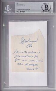 BECKETT MUHAMMAD ALI SIGNED WITH LONG BIBLICAL INSCRIPTION CUT INDEX CARD 876699
