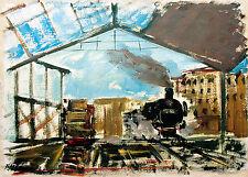 Öl-Gemälde Bahnhof mit einfahrender Dampflokomotive 38 x 54cm Fred Nömeier *1938
