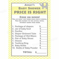 24 Baby Shower Price is Right Game Cards - Elephant - Yellow