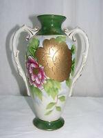 Vintage Porcelain 2 handled Vase Pink Gold Floral Design Japan