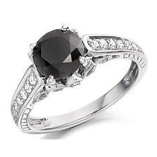 3.00 Carat Black & White Diamond Designer Engagement Ring in White Gold