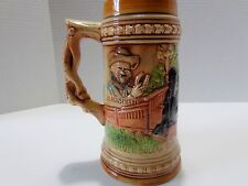 German Style Ceramic Beer Stein Silver Dollar Line Blacksmith, Made in Japan