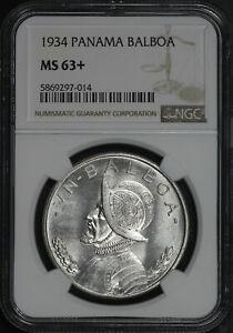 1934 Panama Silver Balboa NGC MS-63+