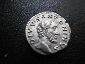 COINS ROMAN  SILVER DENARIUS OF ANTONINIUS PIUS 138 TO 161 AD  GVF