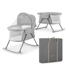 Kinderkraft Lovi Baby Cot / Cradle - Grey - Mattress + Travel Bag Included