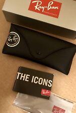 New Genuine Original Ray Ban BLACK Flat Aviator Sunglasses Case & Original Box.