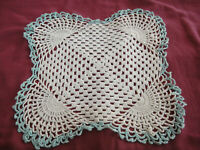 "Vintage 11x11"" Crochet Square Doily Off White with Aqua Blue Edging"