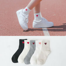 Kawaii Cute Soft Breathable Cotton Socks Ankle-High Red Heart Pattern
