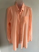 DKNY Peach Button Down Blouse Size Small