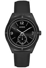 GUESS Men's Black Leather Strap Stainless Steel Case Watch W0873G3