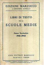 N72 Libri di testo per le scuole medie 1941 - 1942 Ed. Marzocco