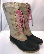 NIB Esprit Belinda Taupe & Pink Tall Lace Up Duck Winter Snow & Rain Boots - 10