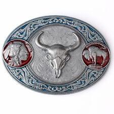 Vintage Longhorn Men's Belt Buckle Western Cowboy Native American (CW-10-S)