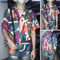 Hawaiian Men's Short Sleeve Shirt Geometric Printed Party Hippy Blouse Tops Tee