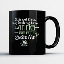 Drummer Coffee Mug - Sticks And Beats - Adorable 11 oz Black Ceramic Tea Cu