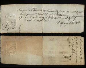 1828 INVERNESS-WILLIAM KEITH Clockmaker Receipt for 8 Day clock, Mahogany Case