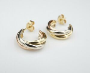 Trinity Tri Color 18k Gold Twisted Crossover Huggie J-Hoop Post Earrings EG1816