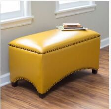 Upholstered Bench Leather Storage Ottoman Nailhead Seat Furniture Yellow Toy Box