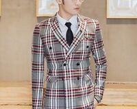 Plaid Suit For Men Blazer Pants Vest Slim Fit Party Event Formal Male Suits Wear