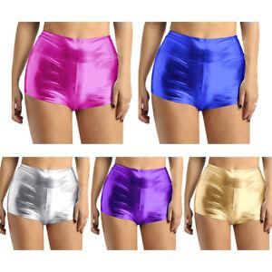 UK Women Shiny Metallic High Waist Rave Booty Shorts Hot Pants Festival Clothing