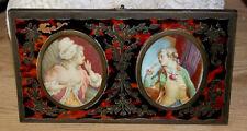 ancienne paire de miniature peinte couple portrait romantique signé Aubin XIXe