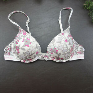 Calvin Klein Bra Size 34A White Floral Padded Push-Up Underwire Adjustable Clasp
