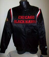 Chicago BLACKHAWKS Satin Jacket STARTER New Style M, L, XL, 2X BLACK