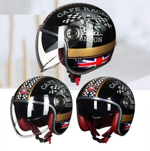 Vintage Double Casque Lens Scooter Moto Open Face Motorcycle Safety Helmet
