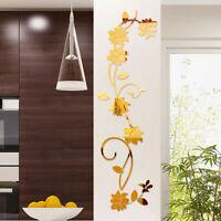 3D DIY Acrylic Mirror Effect Flower Vine Wall Stickers Mural Decal Decor Beauty