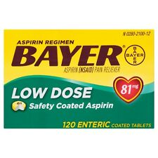 New Bayer Aspirin Regimen 81mg Low Dose Safety Coated Capsules Tablets 120 Ct.