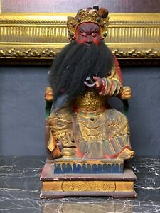 A Large Impressive Carved Polychrome and Parcel Gilt State of Immortal Deity Gua