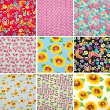 100% Cotton Fabric FLORAL SUNFLOWER BUTTERFLY PRINT Wide Dress Material Metre