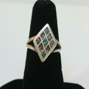 BEAUTIFUL 925 CORAL/TURQUOISE PIECES RING 3.6GRAMS SIZE 4