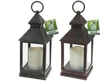 LED Flickering Candle Small Plastic Garden Lantern Approx 24cm H X 10cm W Steel Effect