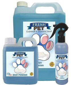 Kennel/Cattery Cleaner Baby Talc Scent 250ml Spray, 1L + 5L Containers Fresh Pet