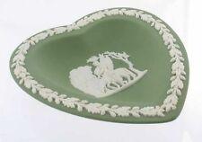 Vintage Wedgwood Sage Green Jasperware Heart Vanity Trinket Dish