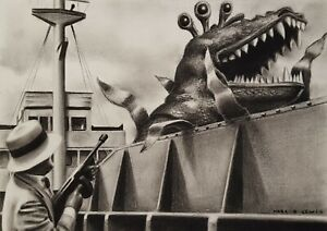 DR WHO DOCTOR WHO ORIGINAL ART 'Carnival of Monsters' Original Charcoal Drawing