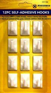 12 Pcs SUPER STICKY Self Adhesive Stick On Removable Hooks No Marks No Mess