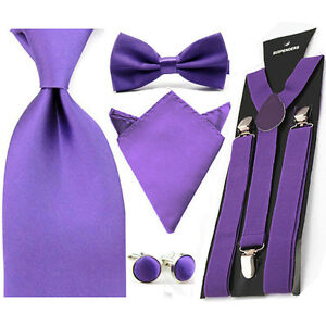 Men Solid Satin Hanky Pocket Square 8cm Necktie Bow Ties Suspender Cufflinks Set
