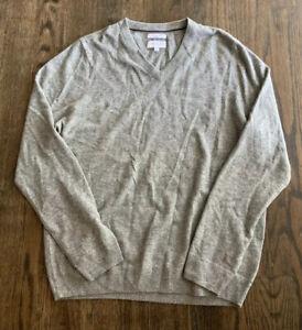 John W. Nordstrom L/S Gray V-neck Pullover LUSH Cashmere Sweater Size Large