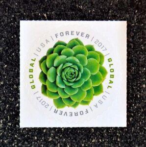 2017USA #5198 Global Forever - Green Succulent  Single Mint (international sase)