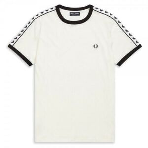 MENS FRED PERRY TAPED RINGER T-SHIRT IN SNOW WHITE COLOUR Size Medium