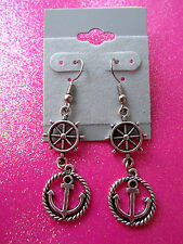 Anchor and Ships Wheel Dangle Earrings