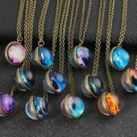 Hot Universe Necklace Handmade Glass Ball Solar System Galaxy Pendant Moon Space