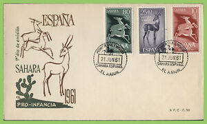 Spanish Sahara 1961 Pro-Infancia, Deer set on First Day Cover