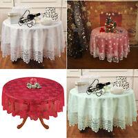 Vintage Rund Spitze Tischdecke Hochzeit Party Weihnachts Dekor Blumen 180cm