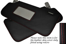 Rojo Stitch cabe Ford Fiesta Mk7 08-13 2x Sol Viseras Cuero cubre sólo